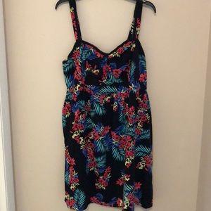 Torrid Black Floral Sun Dress Sz 2 Plus